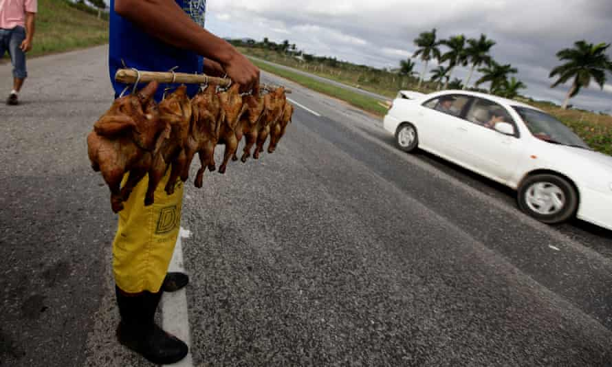 A man sells roast chickens along a highway west of Havana, Cuba.