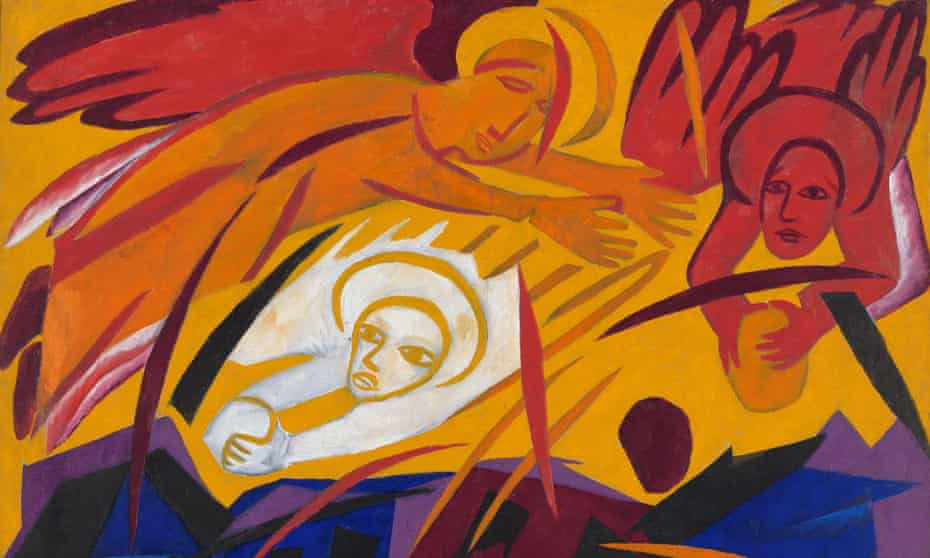 Detail from Harvest: Angels Throwing Stones on the City, 1911, by Natalia Goncharova.