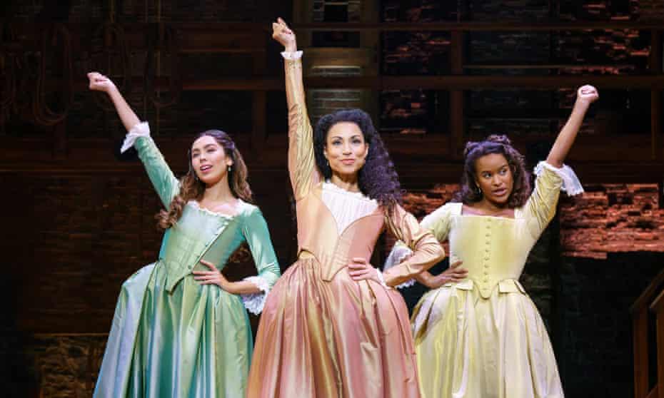 Julia K. Harriman, Sabrina Sloan and Darilyn Castillo in a touring production of Hamilton