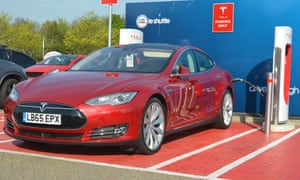 A Tesla Model S saloon recharging.