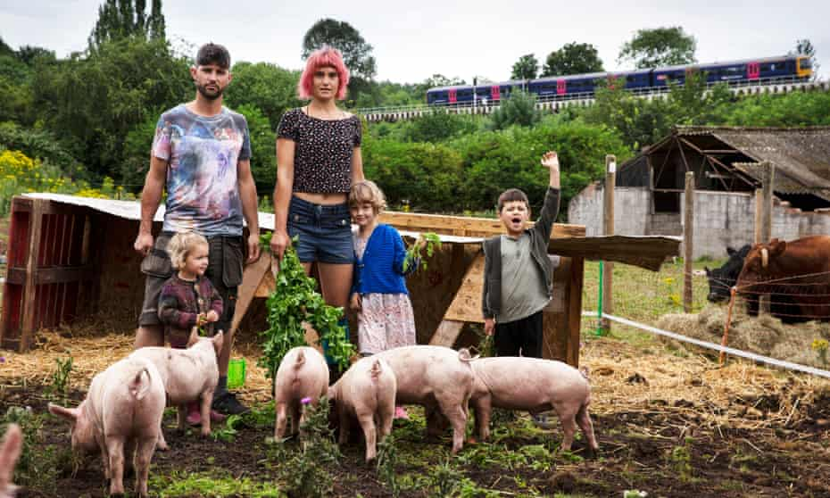 From left, Jona and Mary Conway with their children, Ambrose, Foxglove and Fabian. They run a four-acre smallholding, Purple Patch, at Watercress Farm.