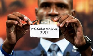 Arsenal's quarter-final opponents, CSKA Moscow, are revealed by Éric Abidal at Friday's draw in Nyon.