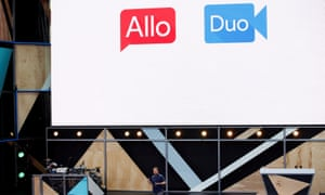 Erik Kay introduces Allo and Duo during the Google I/O 2016 developers conference in Mountain View, California.