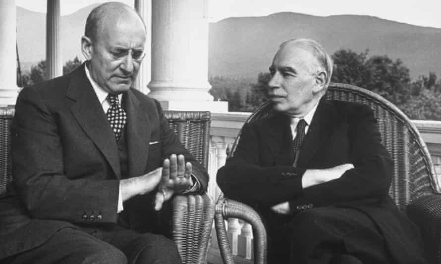 US Treasury secretary Henry Morgenthau Jr (left) and British economist John Maynard Keynes conferring during the Bretton Woods international monetary conference
