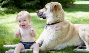 A dog and a baby. One is named Felix, and one is named Monty, but which is which?