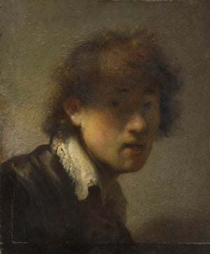 The Rembrandt self-portrait on loan from the Alte Pinakothek, Munich.