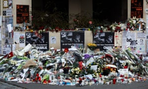 Flowers near the Paris offices of satirical magazine Charlie Hebdo in the wake of January's terror attacks