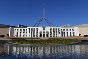 The front entrance of Parliament House, Canberra
