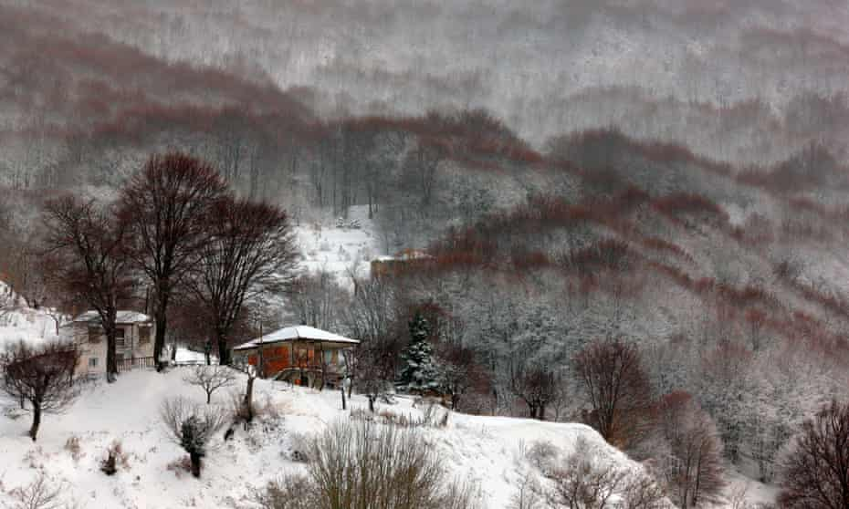 Snow in Pelion mountain, one of the most popular winter travel destinations in Greece.