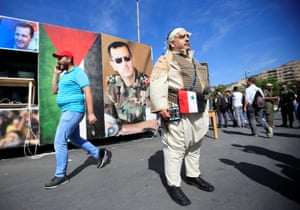 An image of Bashar al-Assad in Damascus, Syria.