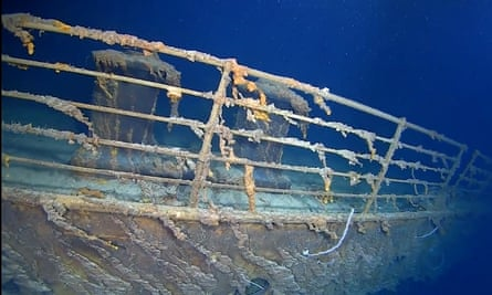 An image of the side of the RMS Titanic at the bottom of the North Atlantic Ocean.