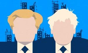 Illustrations of Michael Heseltine and Boris Johnson