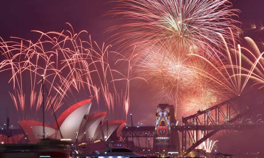 Sydney celebrates the new year, 10 hours ahead of the UK.