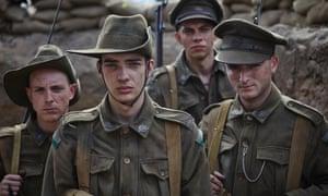 Kodi Smit-McPhee (front) in Channel Nine's Gallipoli.