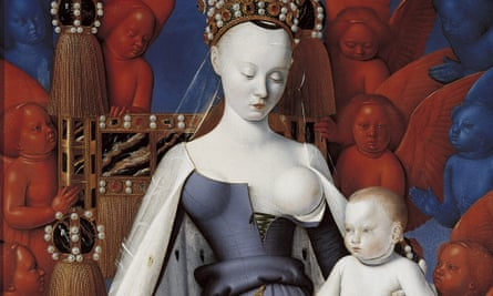 A detail from Fouquet's Virgin and Child With Angels.