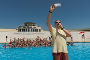 Travel Photograph taken during the opening at Saltdean Lido in Brighton. Selfie taken by one of the organisers. Photograph: Alecsandra Raluca Dragoi for the Guardian