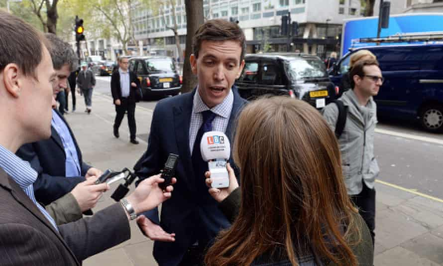 Employment lawyer Nigel MacKay speaks to the media