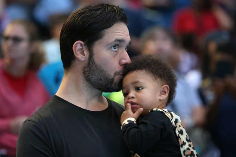 Serena Williams's husband Alexis Ohanian, holds their daughter Alexis Olympia Ohanian Jr. following the women's singles match between Serena Williams of the United States and Katie Boulter of Great Britain during day six of the 2019 Hopman Cup at RAC Arena on January 03, 2019 in Perth, Australia.