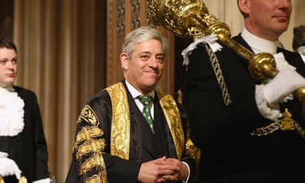 John Bercow in the House of Commons members' lobby.