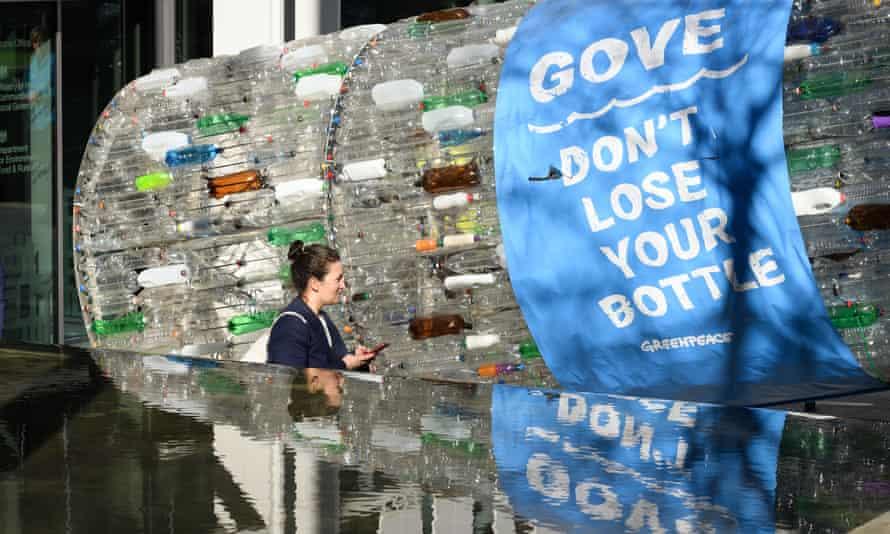 Greenpeace's giant plastic bottle