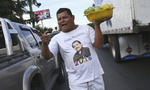 A man in a Daniel Ortega T-shirt in Managua, Nicaragua