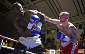 Lewis Van Poetsch fights John Harding at York Hall in London in 2018.