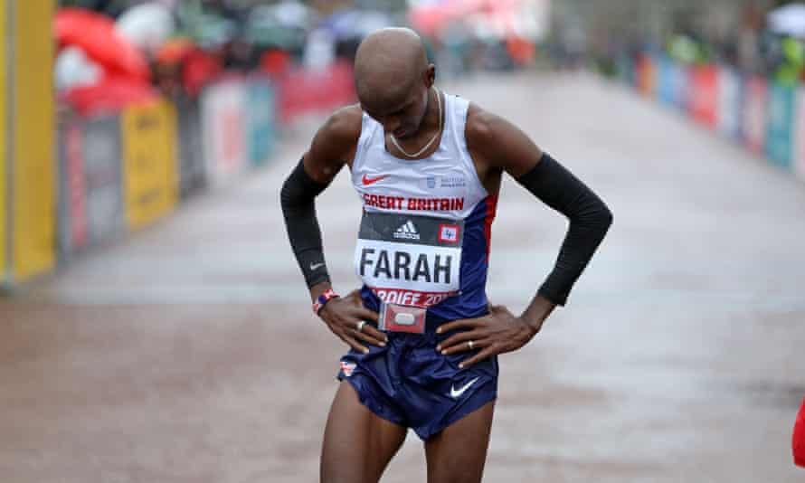 Mo Farah feels the pain after a punishing world half marathon in Cardiff. Farah finished third behind the Kenyans Geoffrey Kamworor and Bedan Karoki.