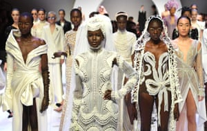 Adut Akech during the J'Aton Couture show at the Opening Town Hall Runway as part of Melbourne Fashion Festival at Melbourne Town Hall