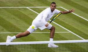 Nick Kyrgios beat Jordan Thompson in the first round of Wimbledon to set up his meeting with Rafa Nadal.