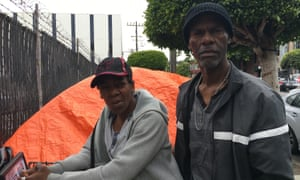 Angelique and Cedric had their tent and belongings doused by an auction house's sprinklers.