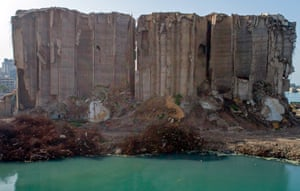 The damaged grain silos.