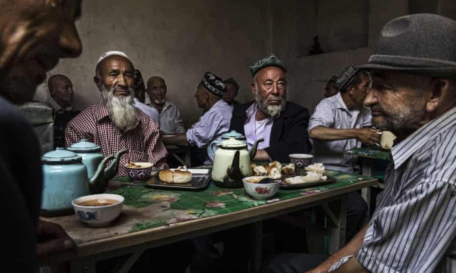 Uighur men at a teahouse in Kashgar in July 2017.