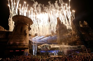 Disney christened the land with a firework display and an assembly of some of biggest names in the Star Wars universe: creator George Lucas and actors Harrison Ford, Mark Hamill and Billy Dee Williams with Walt Disney's Chief Executive Officer Bob Iger