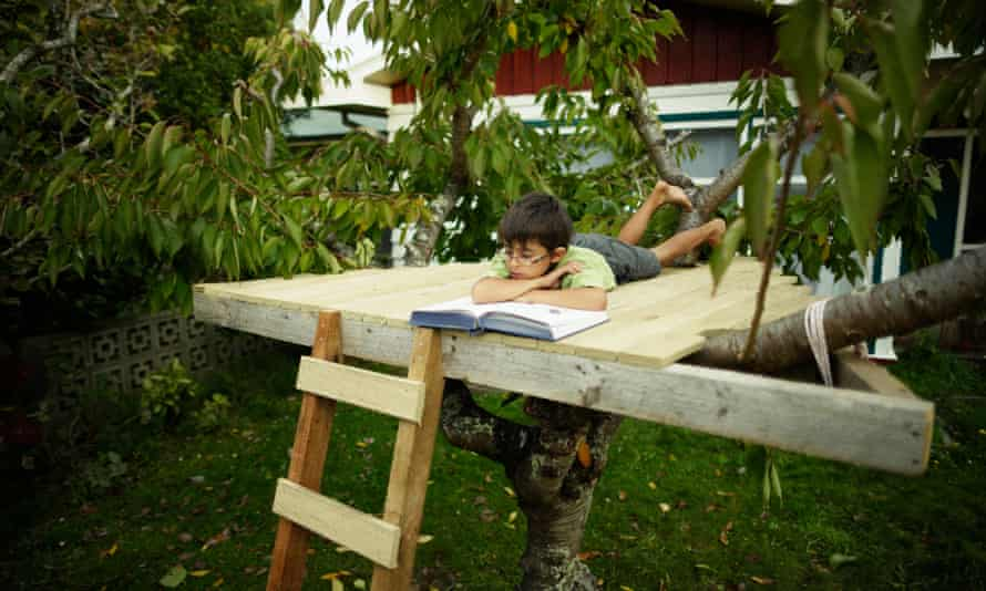A boy reading a book in treehouse.