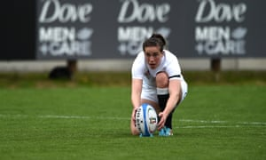 Emily Scarratt of England lines up a conversion.