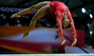 Simone Biles during the beam final in Doha