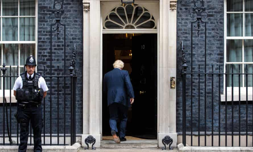 'His precarious premiership will start without a mandate from the country or a reliable parliamentary majority': Boris Johnson arrives for a meeting in Downing Street, August 2017