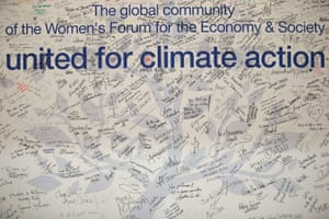 Hand-written messages on a wall during the COP21 climate talks
