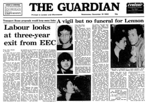 The front page of the Guardian on 10 December 1980, reporting John Lennon's death