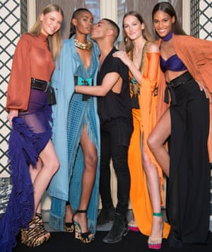 Rousteing has re-created Balmain's aesthetic: under his leadership it is tight, leggy and bright.