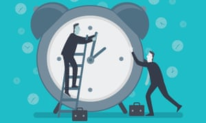 Illustration of businessmen trying to stop time by moving clock hands