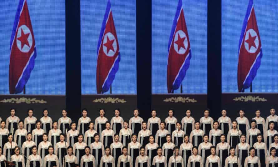 Performers take part in a concert at the Pyongyang Indoor Stadium. North Korea began celebrating its 70th birthday with a concert showcasing its achievements.