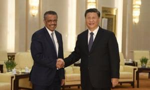 Tedros Adhanom Ghebreyesus and Xi Jinping in Beijing on 28 January.