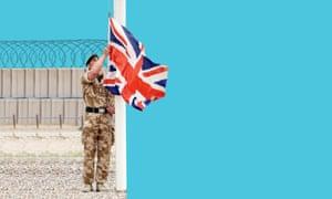 Soldier raising a flag