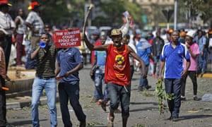 Supporters of Uhuru Kenyatta protest against the supreme court ruling.