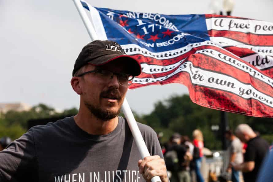 A protester attends the Justice for J6 rally in Washington DC on Saturday.