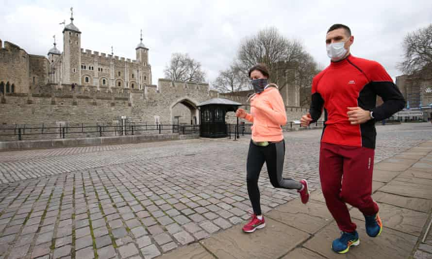 Joggers outside the Tower of London