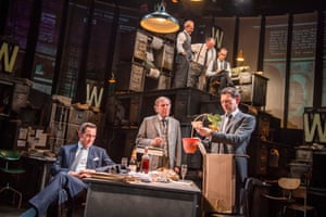 Bertie Carvel as Rupert Murdoch, left, with Geoffrey Freshwater (Sir Alick McKay) and Richard Coyle (Larry Lamb) in Ink at the Almeida.