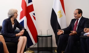 Theresa May with the Egyptian president, Abdel-Fatah al-Sisi, in 2016