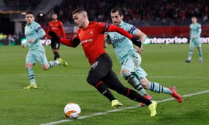 3a457f04d Hatem Ben Arfa bursts past Arsenal s Henrikh Mkhitaryan in Rennes  3-1 win  on